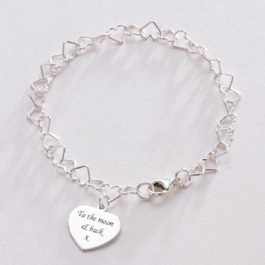 Heart Link Memorial Bracelet with Custom Engraved Heart | Someone Remembered